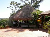 the restaurant was in a palm-thatched hut