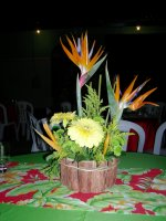 flower arrangement at the conference dinner, at the Antigo Mercado do Peixe do Porto