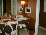 Wynn hotel room: decked out vanity, and TV in the bathroom