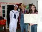 Adam (villiage person sailor), Justis (hick), and Charlotte (protester)