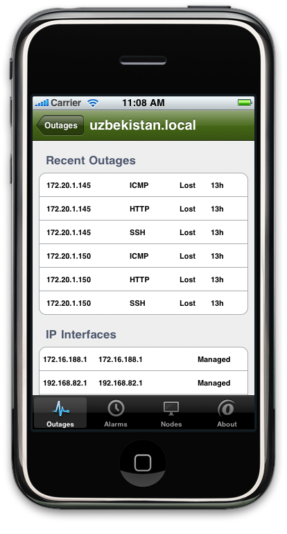 OpenNMS iPhone App: Node Detail (1)