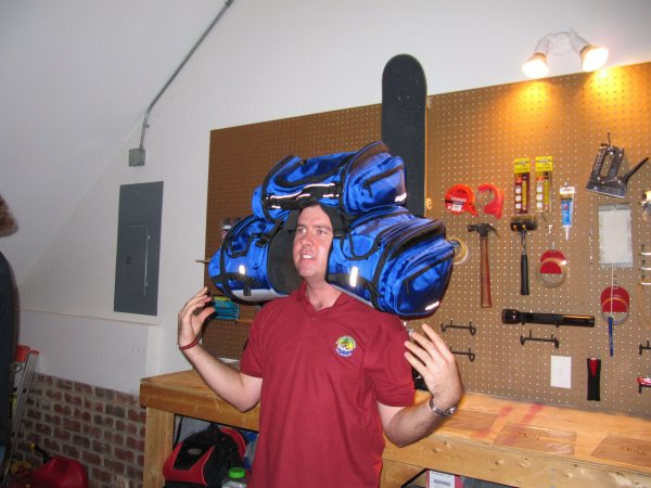Chris is either wearing motorcycle bags, or he's the King of All Cosmos