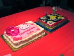 Hello Kitty cake with Transformers cake