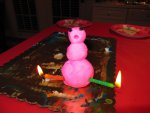 Putty snowman is surprised that he's on fire.