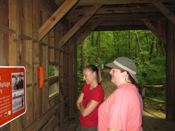 looking at some old pictures in the covered bridge