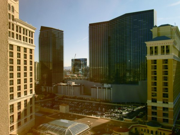 looking towards the strip out our window