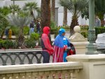 Spider-Man and Captain America loitering outside of the Bellagio