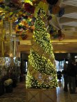 a Christmas tree in the Bellagio lobby