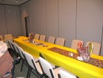 the tables laid out for Thanksgiving