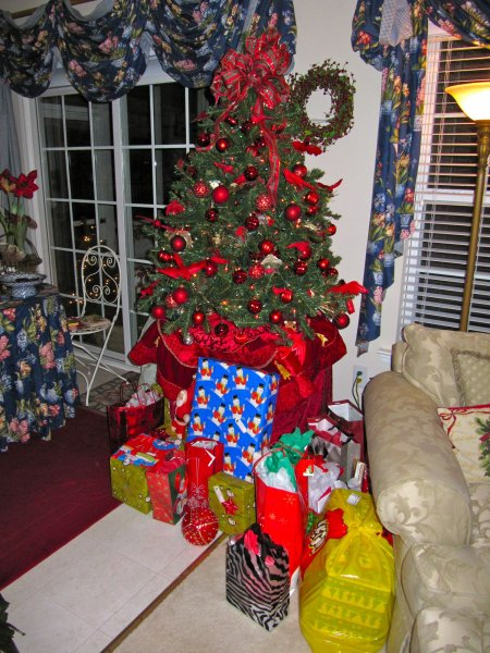the tree, with presents