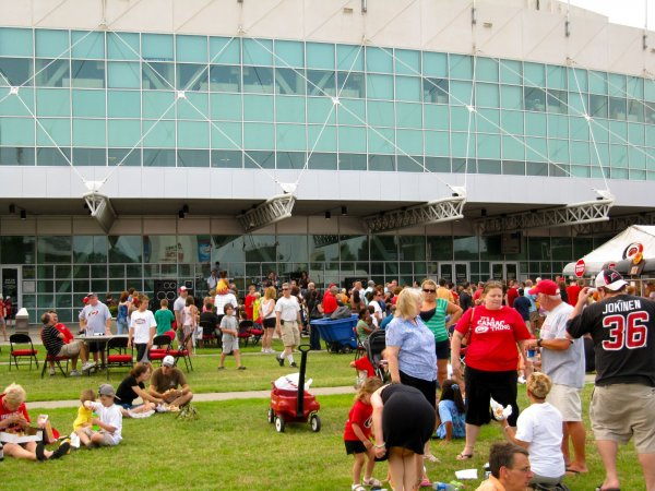 the crowd outside the RBC center