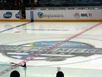 center ice is painted for the NHL premiere
