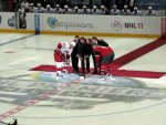 the requisite puck drop ceremony: Jussi Jokinen and Mikko Koivu with Sami Kapanen, Jari Kurri, Esa Tikkanen, and Jyrki Lumme