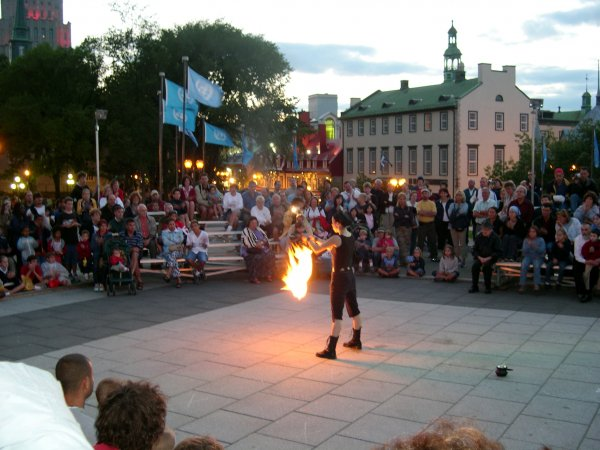 Quebec City - A fiery street performer.