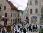 Quebec City - Down the square to the church.  That's a mural on the right!