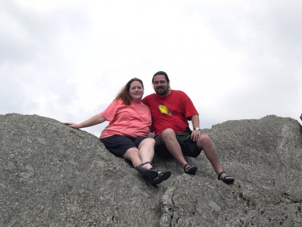 Cynthia and I on Blowing Rock rock.  Luckily, we didn't fall, but if we did, we'd have been blown right back where we were!