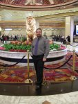 Ben by the lion in the MGM Grand lobby