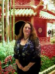 Cynthia by the pagoda at the Bellagio