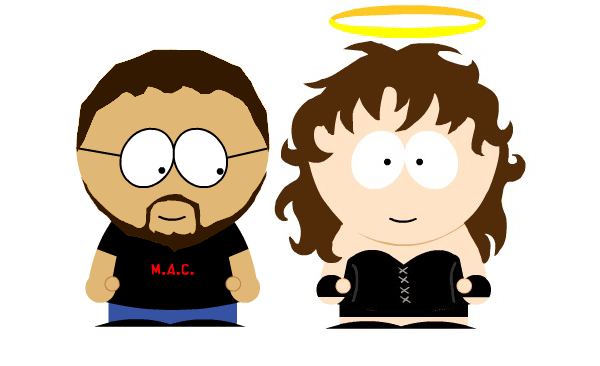 Cynthia and I in South Park form