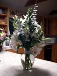 white lilies and snap dragons (Cyn's favorite!)