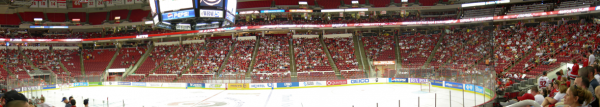 RBC center, watching the Stanley Cup finals game 3 on the jumbotron with the fans