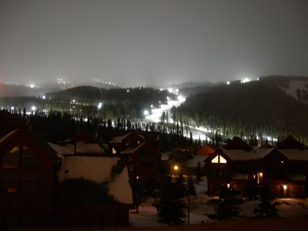 the view from our room up the slopes (at night)